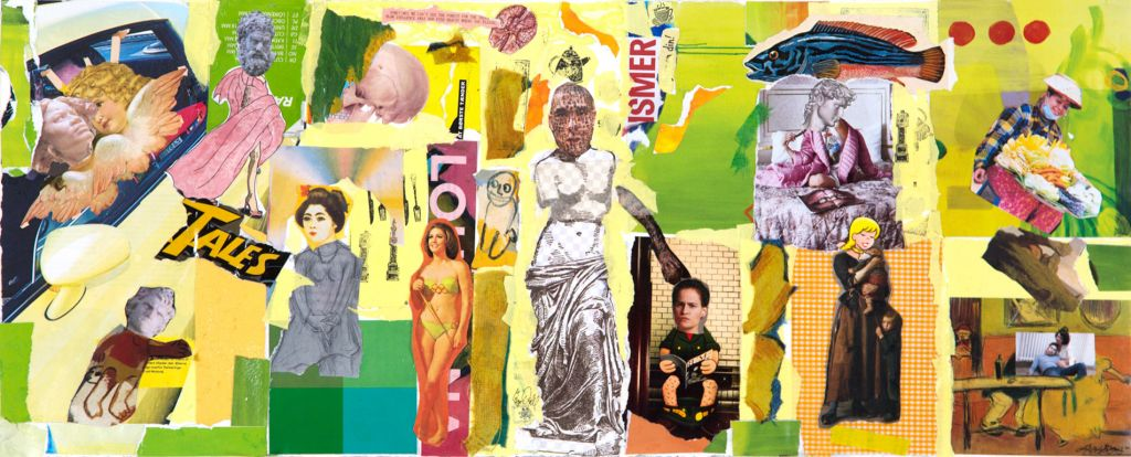 Diversity Tales in Yellow 30x75 cm, collage