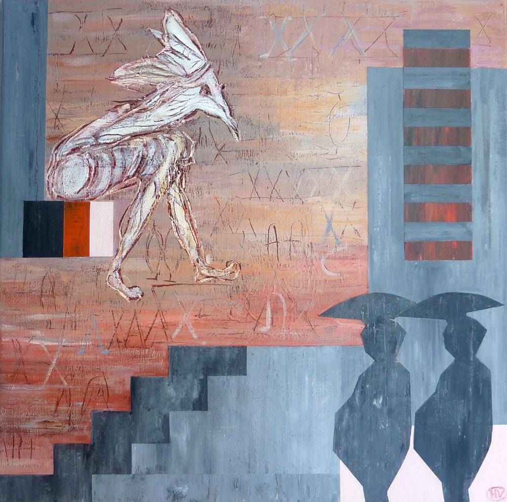 """Maleri 50x50 cm fra serien """"Pause"""""""