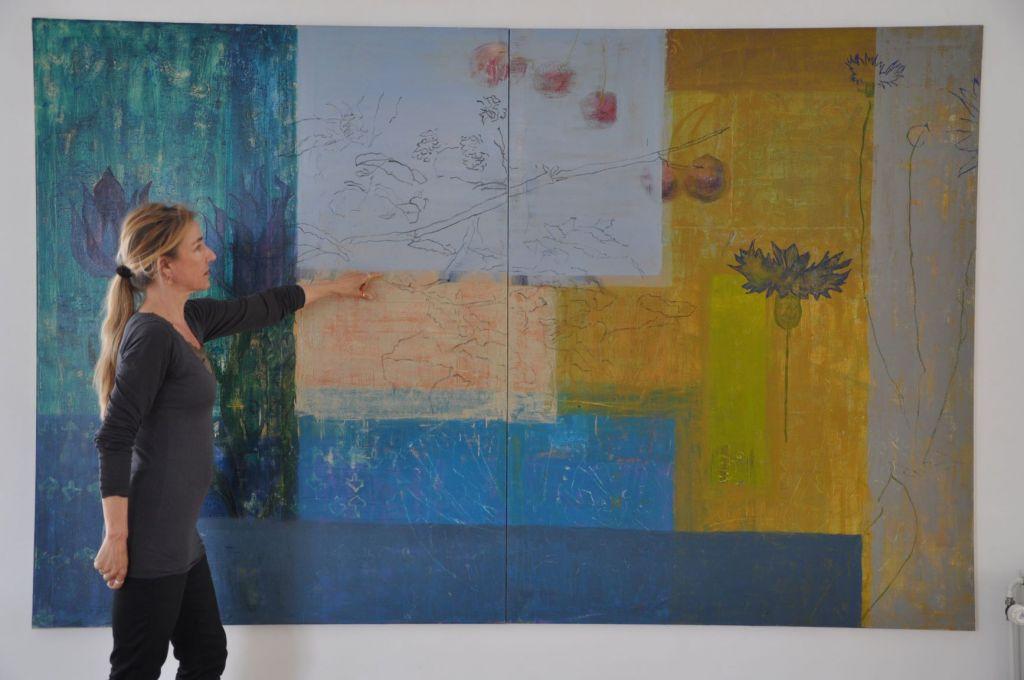 Del af udsmykning til Danske Bank Hovedafdeling,Aarhus.180 cm x 280 cm