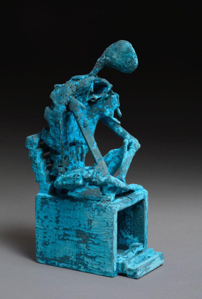 """Meditation"", bronze (cire perdu), mål 12x11x24 cm."