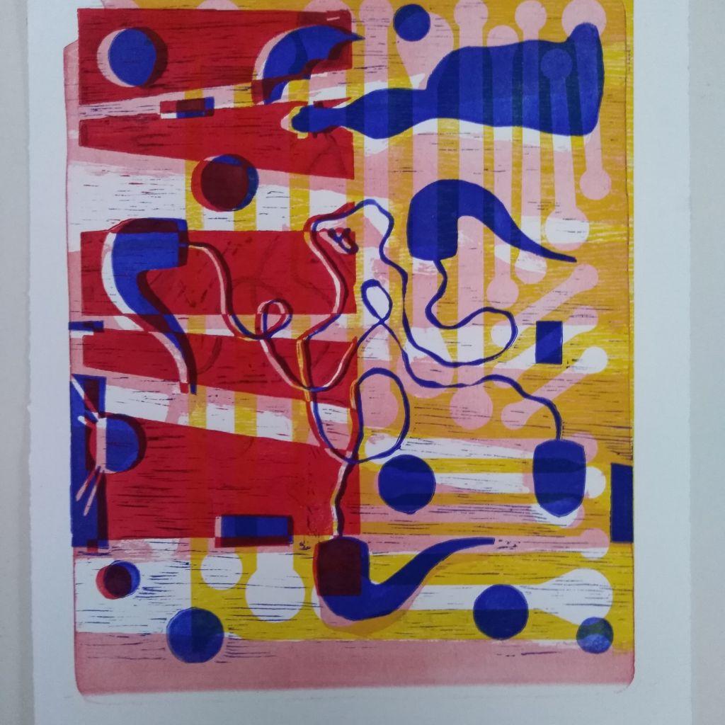 Signals, litografi og linoleumstrryk, 75x55 cm 2018